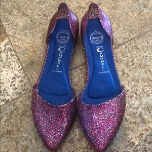 Pink sparkly jelly flats